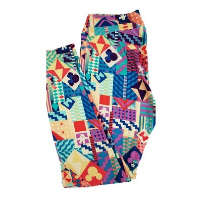 LuLaRoe Tall Curvy TC Disney Mickey and Minnie Mouse Patchwork Adult Leggings fits 12-18
