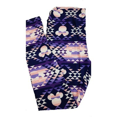 LuLaRoe Tall Curvy TC Disney Minnie Mouse Geometric Pink Purple White Adult Leggings fits 12-18