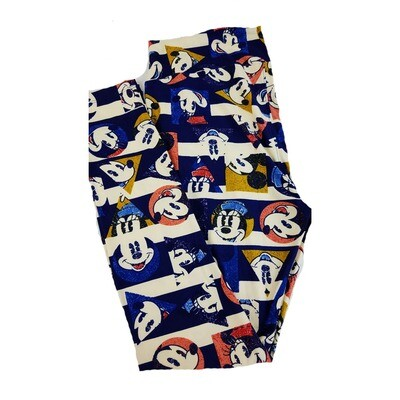 LuLaRoe Tall Curvy TC Disney Smiling Mickey and Minnie Mouse Blue Red White Green Adult Leggings fits 12-18
