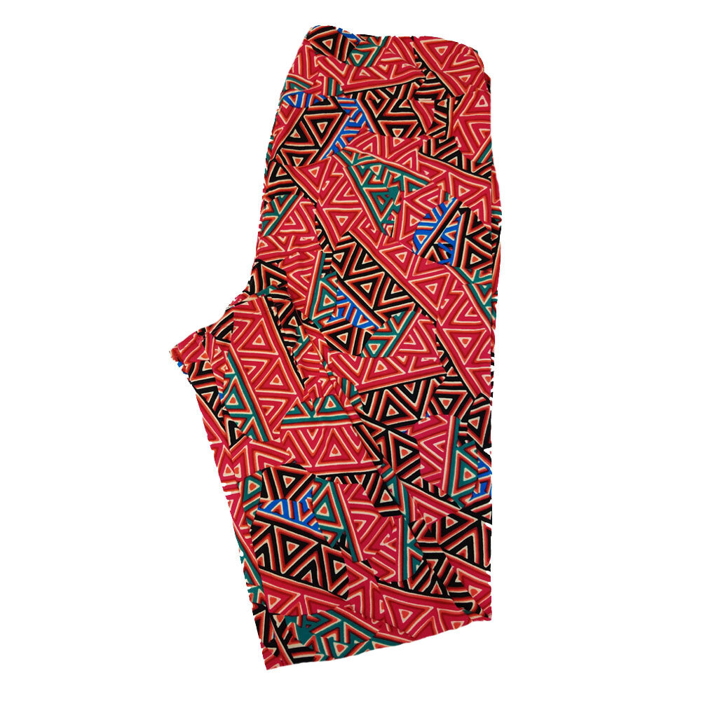 LuLaRoe TC2 Geometric Black Red White Leggings fits Adult Sizes 18+