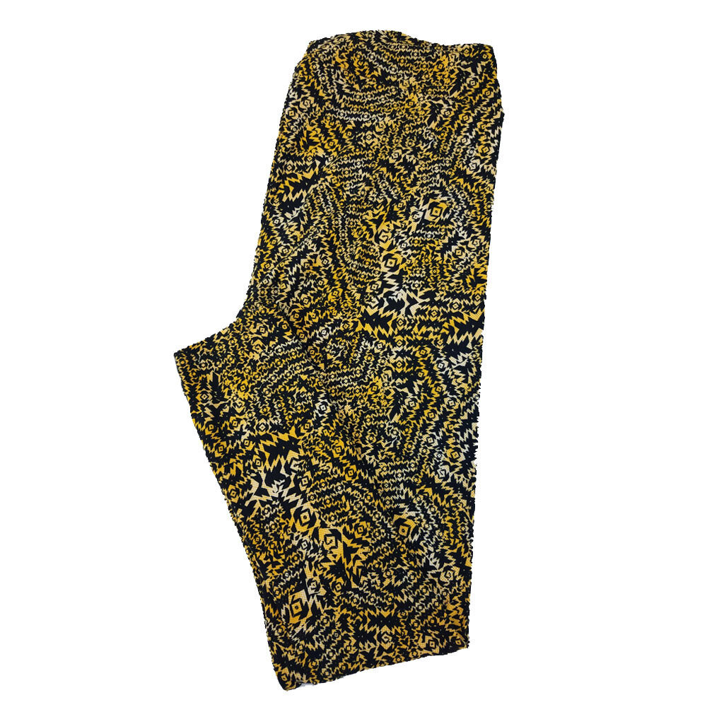 LuLaRoe TC2 Geometric Psychedlic Trippy Black Yellow Leggings fits Adult Sizes 18+
