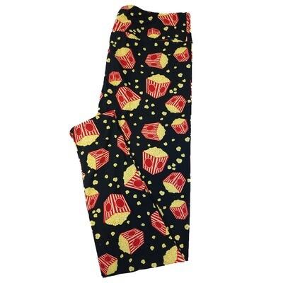 LuLaRoe TC2 Popcorn Buckets Movie Black Yellow Leggings fits Adult Sizes 18+