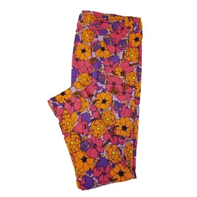 LuLaRoe TC2 Floral Multicolor Patchwork Polka Dot Leggings fits Adult Sizes 18+