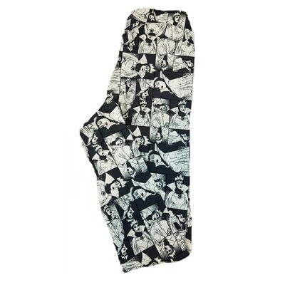 LuLaRoe One Size OS Disney from Snow White Evil Queen Black White Leggings fits sizes 2-10