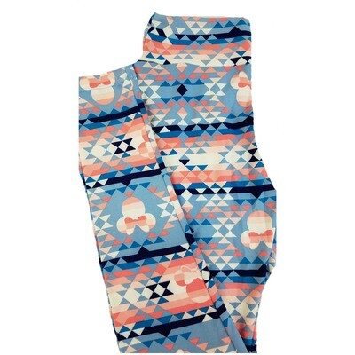 LuLaRoe One Size OS Disney Minnie Mouse Geometric Light Blue Pink Cream Leggings fits 2-10