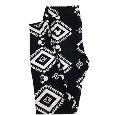 LuLaRoe One Size OS Disney Mickey and Minnie Mouse Geometric Black White Leggings fits 2-10