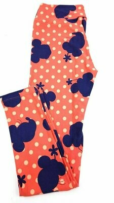 LuLaRoe One Size OS Disney Minnie Mouse Triangles Leggings fits sizes 2-10