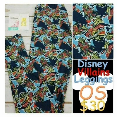 LuLaRoe One Size OS Disney from Little Mermaid Ursula Flotsam and Jetsam Leggings fits sizes 2-11
