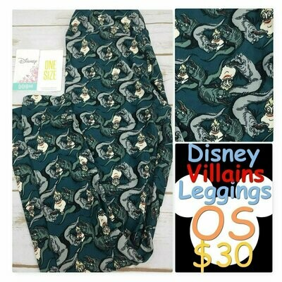 LuLaRoe One Size OS Disney Villains Evil Queen Maleficent Cruella DeVille Mirror Mirror Leggings fits sizes 2-10
