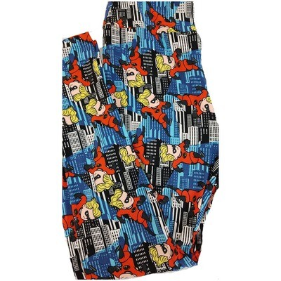 LuLaRoe One Size OS Disney from Incredibles Dashiell Parr Black Red Yellow White Leggings fits sizes 2-10