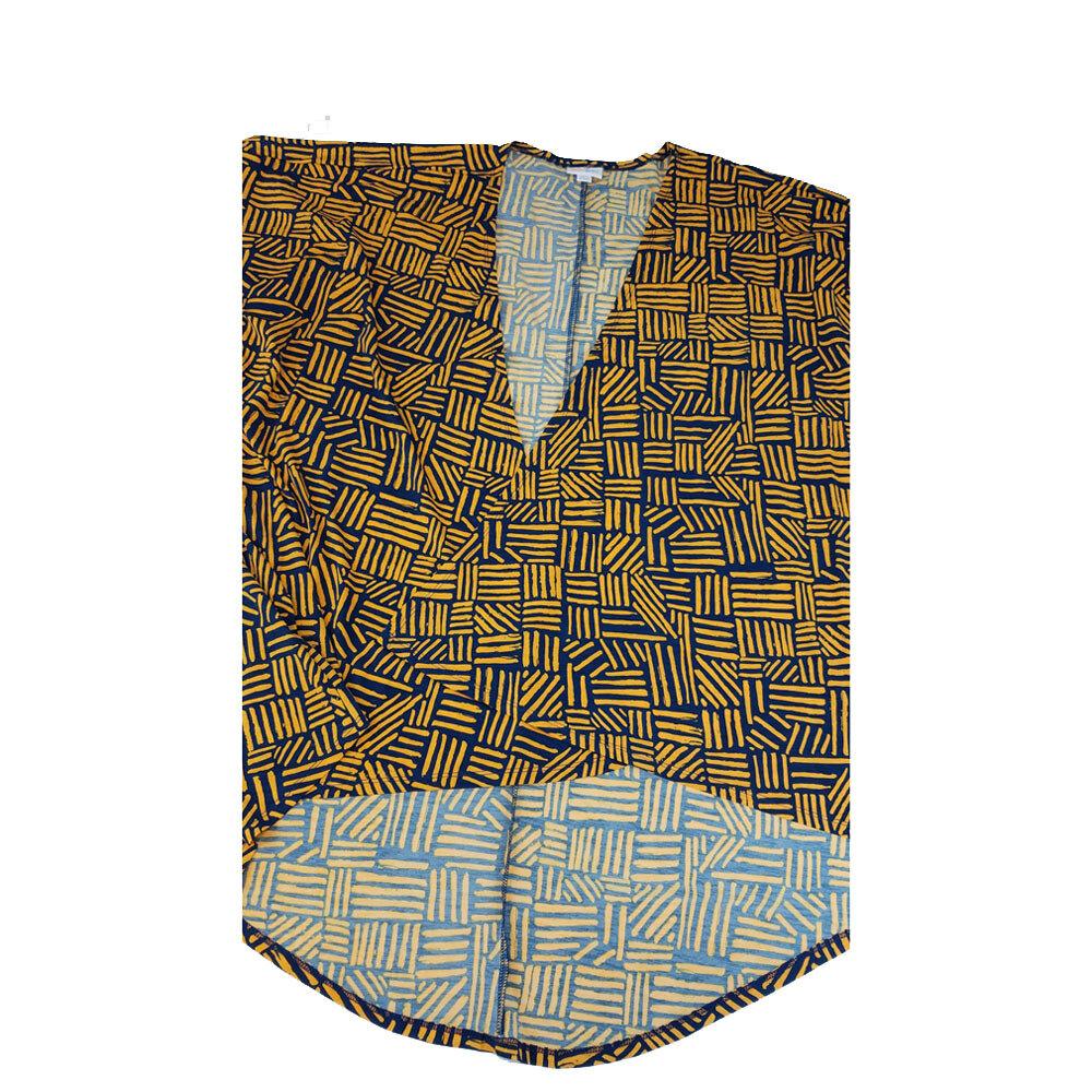 LuLaRoe Lindsay Kimono Large L Gold and Dark Blue Geometric fits Womens sizes 18-22