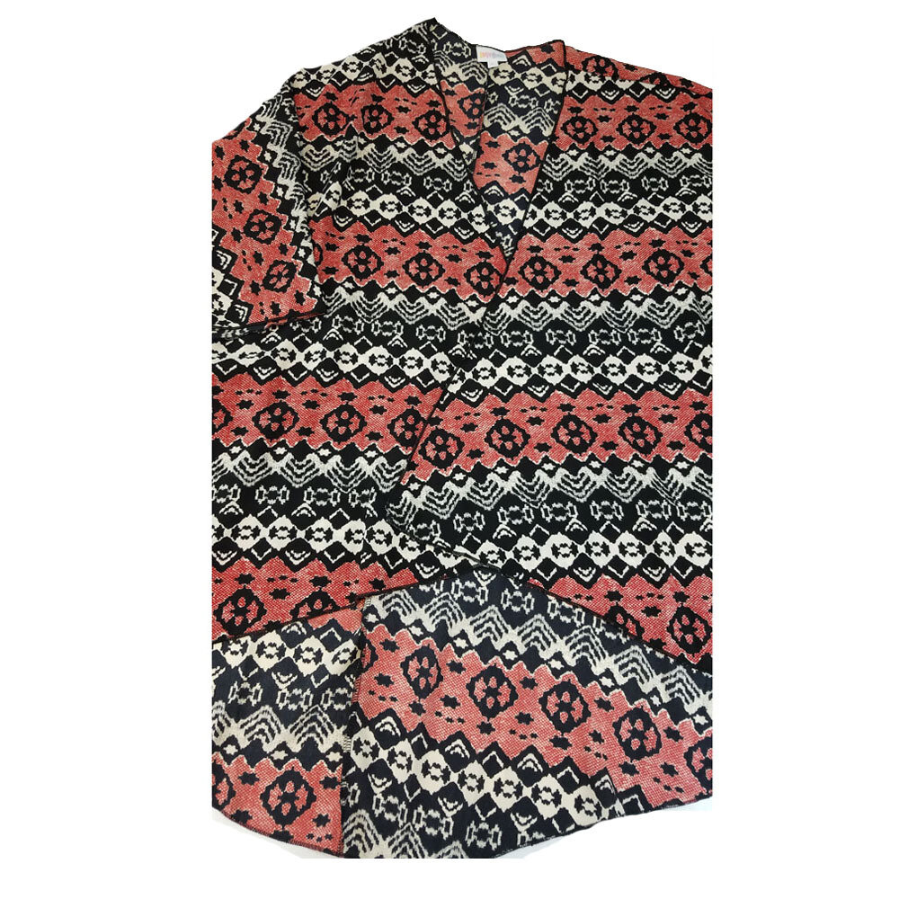 LuLaRoe Lindsay Kimono Large L Black Red White Geometric fits Womens sizes 18-22