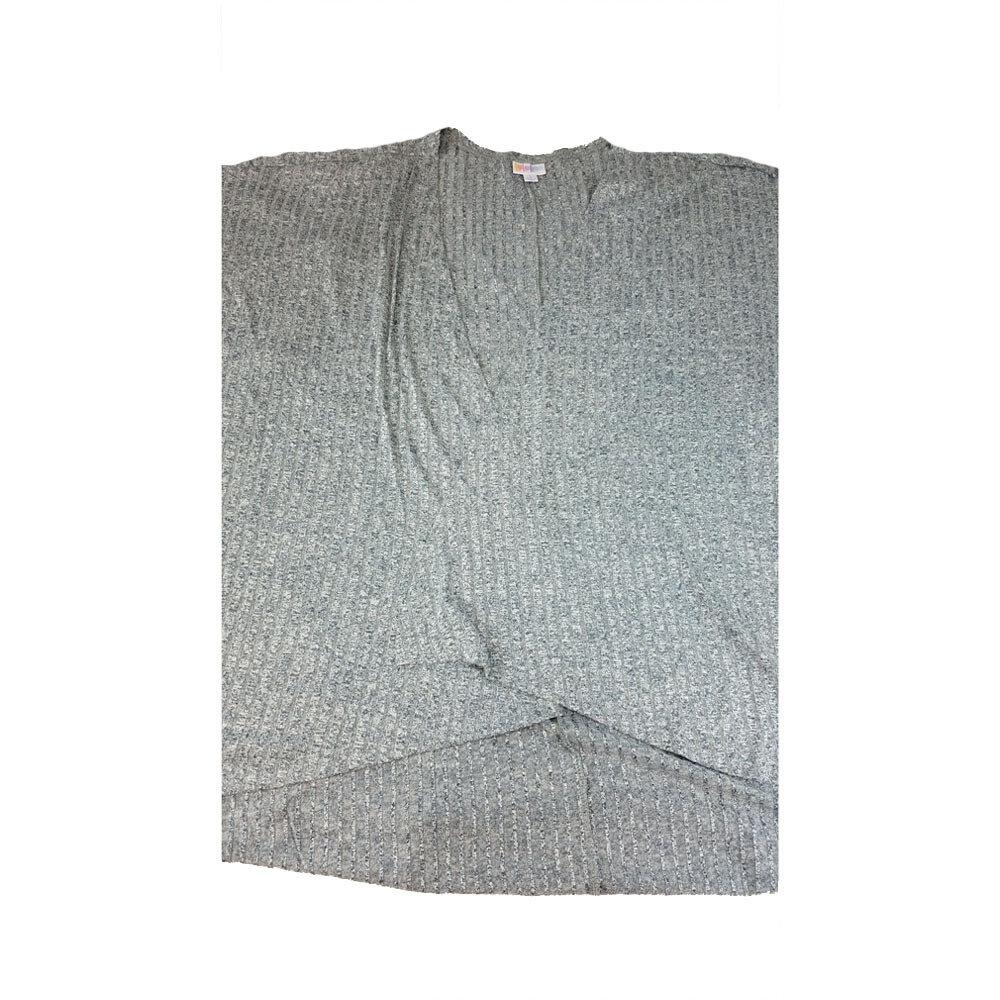 LuLaRoe Lindsay Kimono Large L Light Grey Ribbed fits Womens sizes 18-22