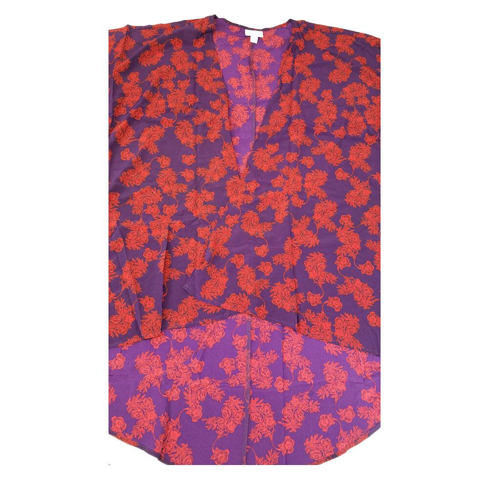 LuLaRoe Lindsay Kimono Medium M Dark Purple and Fuchsia Floral fits 10-18