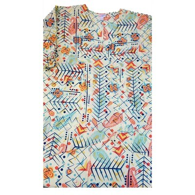 LuLaRoe Lindsay Kimono Medium M Pale Yellow Navy Orange Geometric Paisley fits 10-18