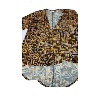 LuLaRoe Lindsay Kimono Small S Dark Yellow and Black Geometric fits 0-8