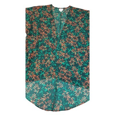 LuLaRoe Lindsay Kimono Small S Pine Green and Orange Floral fits 0-8