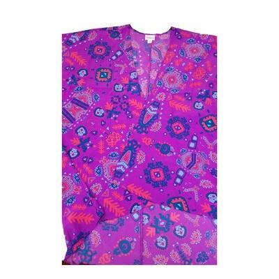 LuLaRoe Lindsay Kimono Small S Fuchsia Pink and Blue Geometric fits 0-8