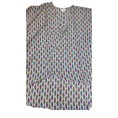 LuLaRoe Lindsay Kimono Small S Light Grey with Rainbow Feathers Stripe fits 0-8