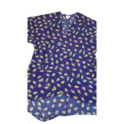 LuLaRoe Lindsay Kimono Small S Purple and Yellow Leaf Leaves Zig Zag Stripe fits 0-8