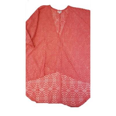 LuLaRoe Lindsay Kimono Small S Pink Lace Polka Dot Geometric fits 0-8