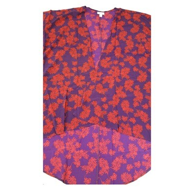 LuLaRoe Lindsay Kimono Medium M Dark Purple and Fuchsia Floral fits 10-18