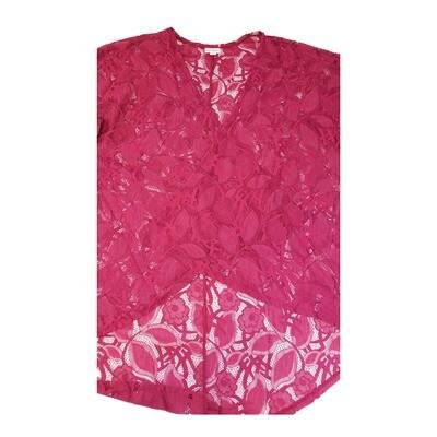 LuLaRoe Lindsay Kimono Medium M Dark Pink Lace Floral fits 10-18