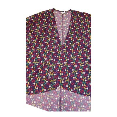 LuLaRoe Lindsay Kimono Medium M Deep Purple Yellow and White Geometric Polka Dot fits 10-18
