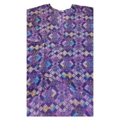 LuLaRoe Lindsay Kimono Medium M Pink Blue Yellow Geometric fits 10-18