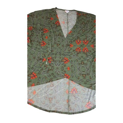 LuLaRoe Lindsay Kimono Large L Olive Green Coral Floral fits Womens sizes 18-22