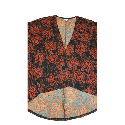 LuLaRoe Lindsay Kimono Large L Black Dark Red Fuchsia Fleur-de-Lis fits Womens sizes 18-22