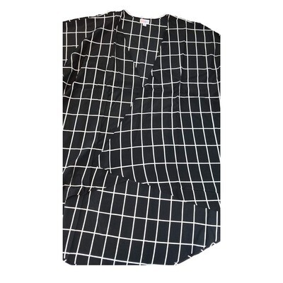 LuLaRoe Lindsay Kimono Large L Black and White Rectangular Grid fits Womens sizes 18-22
