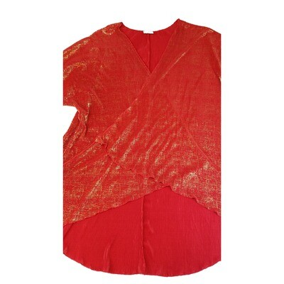LuLaRoe Lindsay Kimono Large L Red and Gold Shimmer Elegant Collection fits Womens sizes 18-22