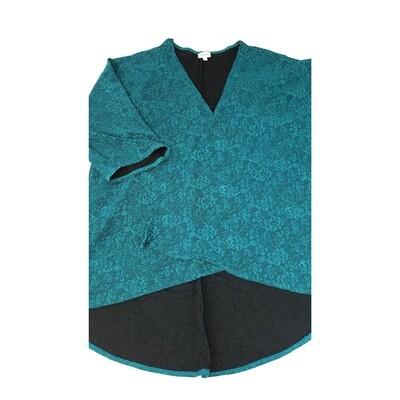 LuLaRoe Lindsay Kimono Large L Teal Embossed with Black Lining fits Womens sizes 18-23