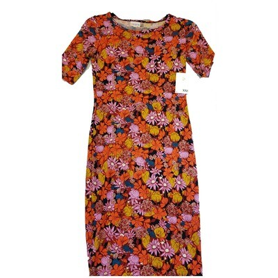 JULIA XX-Small XXS Black, Orange Purple Yellow White Daisy Hybiscus Babies Breath Floral Form Fitting Dress fits sizes 00-0