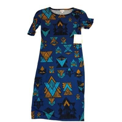 JULIA XX-Small XXS Blue, Black, Orange Chevron Geometric Form Fitting Dress fits sizes 00-0