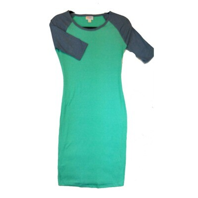 JULIA XX-Small XXS Solid Mint Green with Navy Sleeves Form Fitting Dress fits sizes 00-0