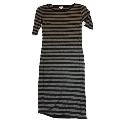 JULIA XX-Small XXS Black and Grey Stripe Form Fitting Dress fits sizes 00-0