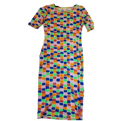 JULIA XX-Small XXS Green, Pink, Blue and Red Square Polka Dot Stripe Geometric Form Fitting Dress fits sizes 00-0