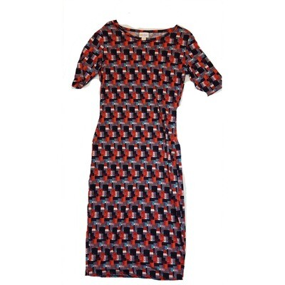 JULIA XX-Small XXS Purple, Red, Black and White Geometric Form Fitting Dress fits sizes 00-0