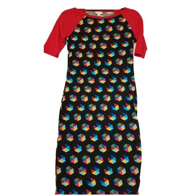 JULIA XX-Small XXS Solid Black with Red Sleeves and Rainbow Hexagon Geometric Polka Dots Form Fitting Dress fits sizes 00-0