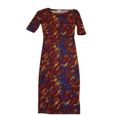 JULIA XX-Small XXS Maroon, Yellow, Blue and Black Geometric Form Fitting Dress fits sizes 00-0