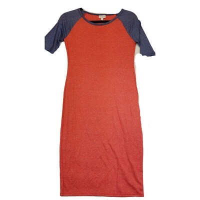 JULIA XX-Small XXS Solid Red with Dark Blue Sleeves Form Fitting Dress fits sizes 00-0