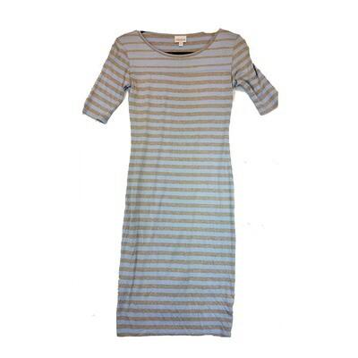 JULIA XX-Small XXS Light Blue and Grey Stripe Form Fitting Dress fits sizes 00-0