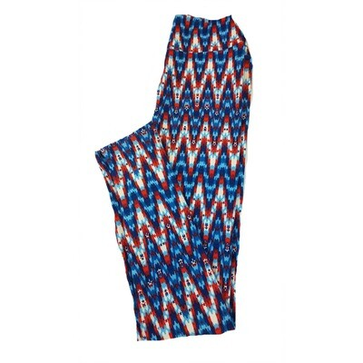 LuLaRoe Tween USA Stars and Stripes Red White Blue Zig Zag Leggings Fits Adult Sizes 00-0