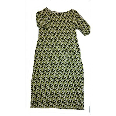 JULIA Large L Black and Green Triangle Polka Dot Form Fitting Dress fits sizes 12-14