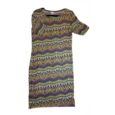 JULIA Large L Grey Yellow Purple and Teal Wavy Stripe Form Fitting Dress fits sizes 12-14