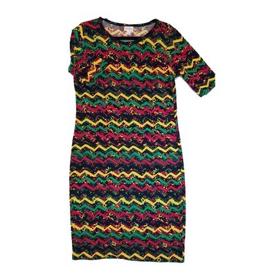 JULIA Large L Black Pink Green and Yellow Geometric Zig Zag Stripe Form Fitting Dress fits sizes 12-14