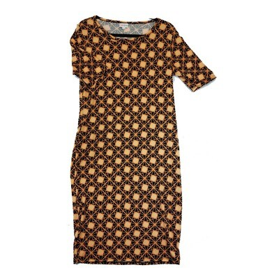 JULIA Large L Black and Orange Polka Dot Geometric Form Fitting Dress fits sizes 12-14