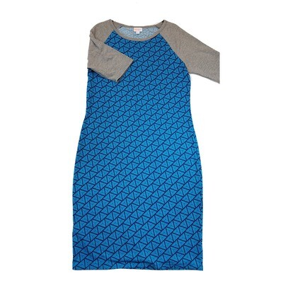 JULIA Large L Blue Geometric Stripe with Grey Sleeves Form Fitting Dress fits sizes 12-14